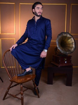 kurta pajama in navy blue