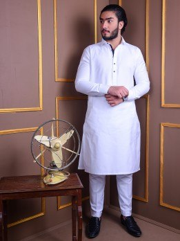 white kurta pajama with blue lace