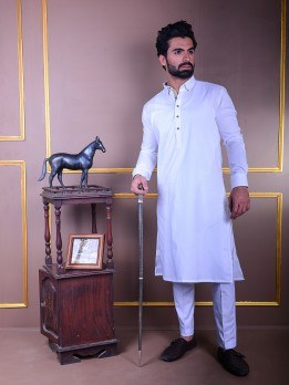 white kurta pajama with fawn lace