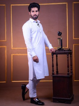 white kurta pajama with black lace