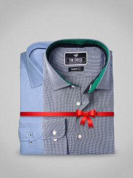PACK OF 2 BLUE AND GREEN TEXTURED DESIGNER SHIRT