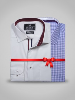 PACK OF 2 WHITE & MICRO PURPLE CHECK FORMAL SHIRT