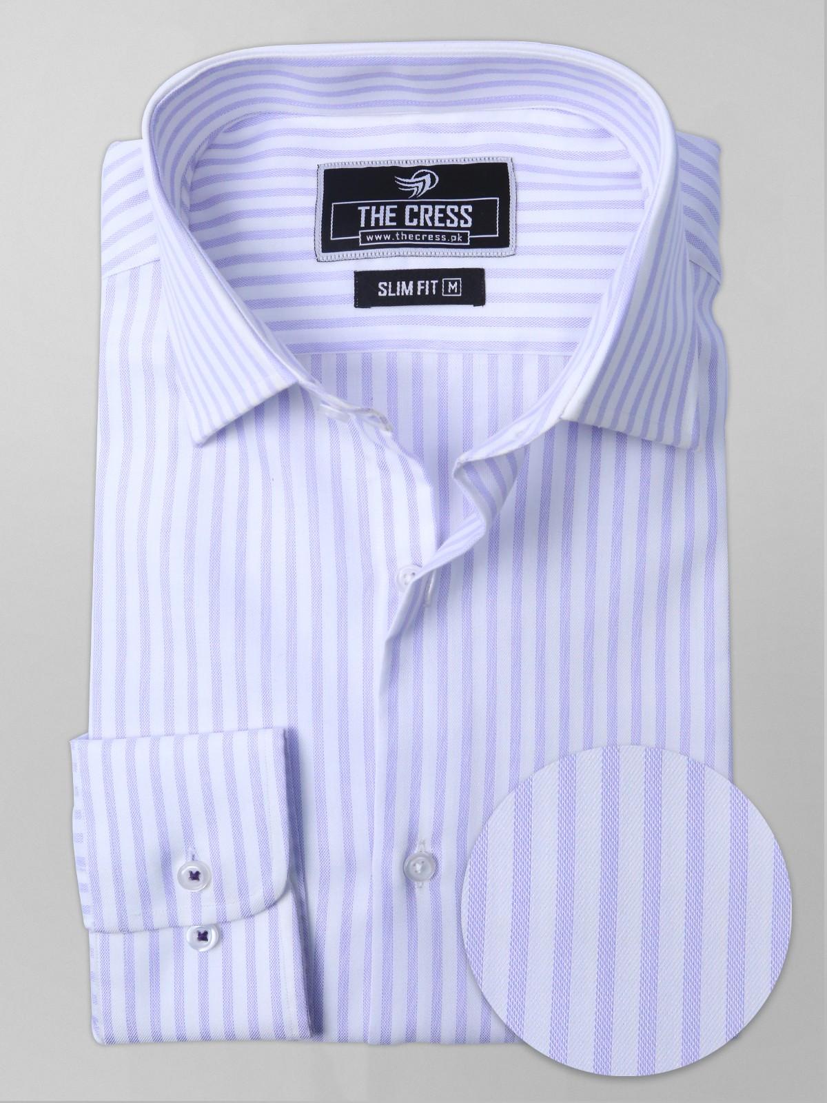 striped shirt purple and white