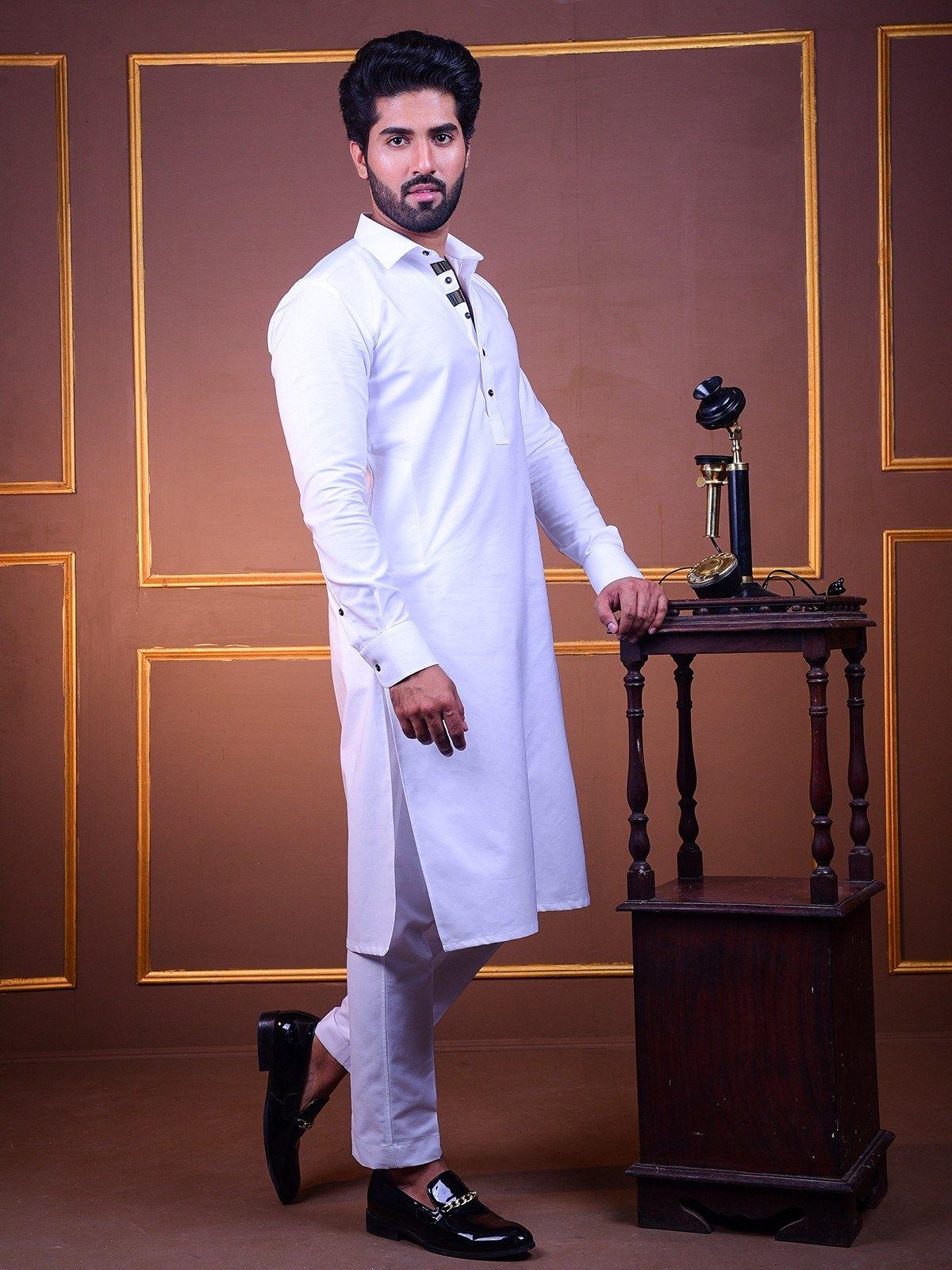 white-kurta-pajama-with-black-lace-kp0004