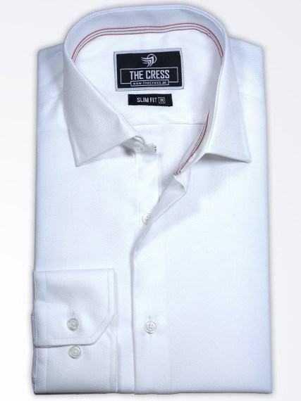 premium white self-fabric shirt