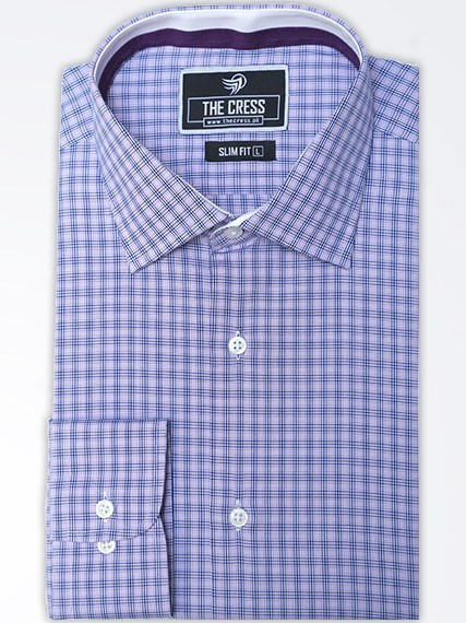 micro check dress shirt in purple