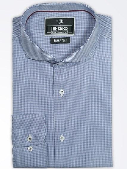 blue premium textured formal shirt