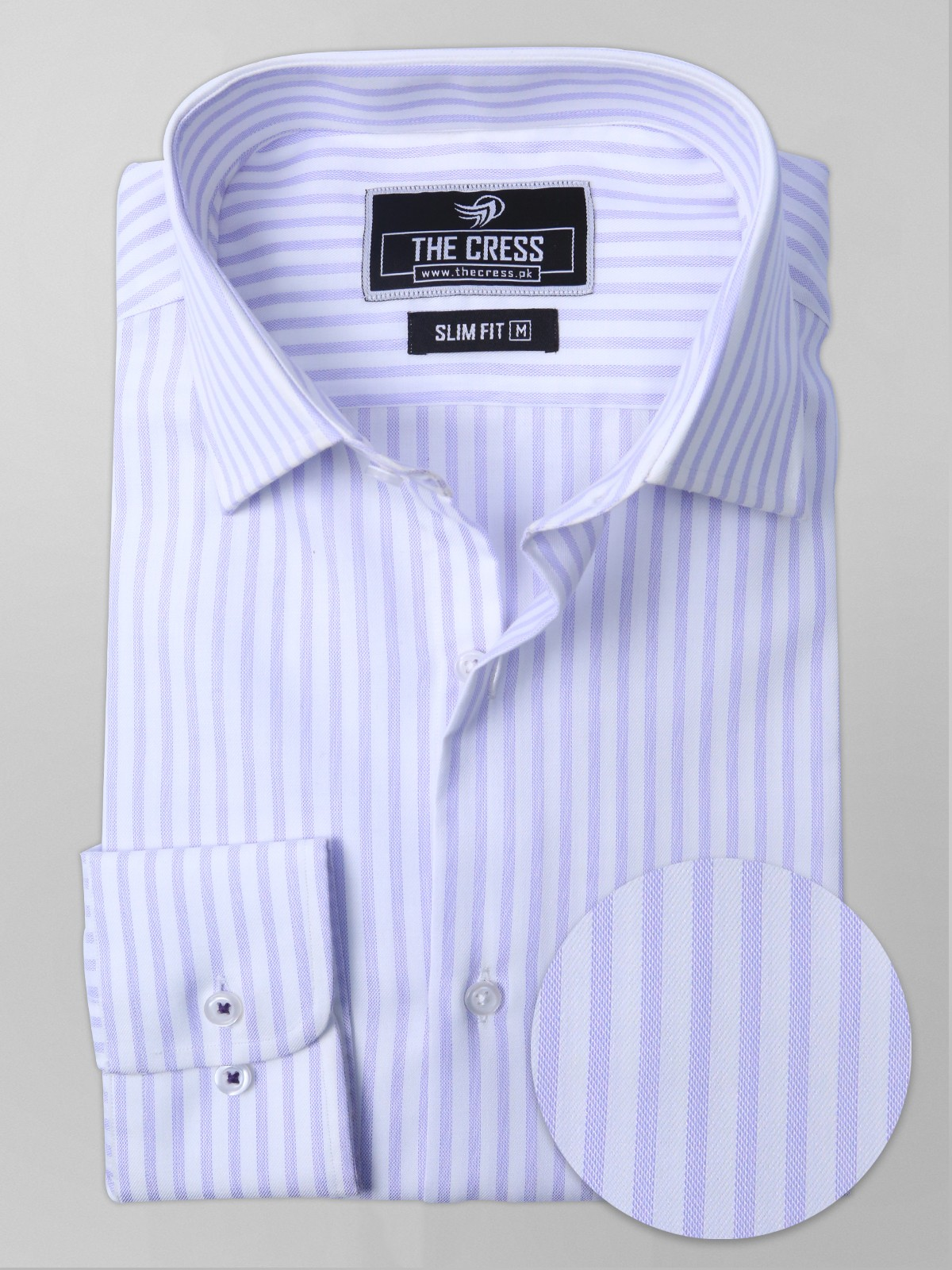 striped shirt purple and white